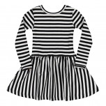 Metsola RIB Striped Dress, black-white