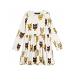 Mini Rodini Kleit Cat Choir, Offwhite