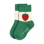 Mini Rodini Strawberry Ribbed Socks, Green