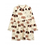 Mini Rodini Fluffy Dog Long Sleeve Dress, Beige