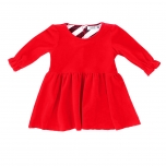 Raspberry Republic Velour Baby Dress Royal Ruby